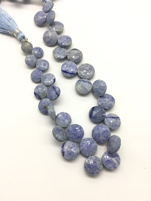 Blue Quartz Faceted Round 1strand 88carats size- 8 to 11 MM