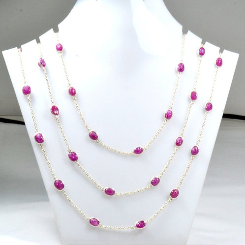 925 Sterling Silver Ruby Carving 42 '' Oval Silver Chain 1 Strand 19.45 G.M