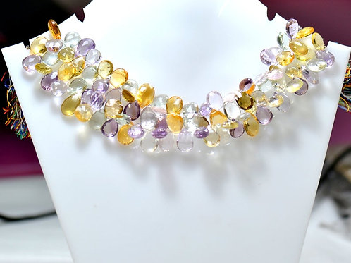 Multiple Mixed Gems Anniversary - 8'' Brazil Faceted Drops 1 Strand Gemstone