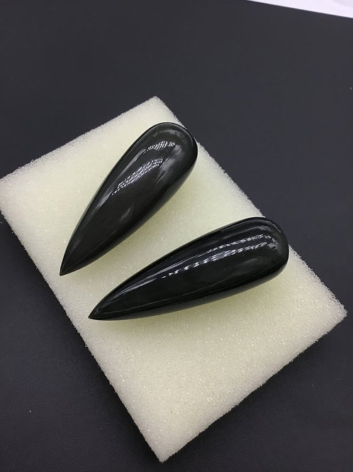 Obsidian 2 Pieces ( 1 Pair Set 1 Quantity ) Plain Drops Side Drilled Good