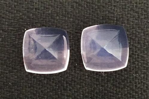 Lavender Quartz sugarloaf pair natural gemstone 10mm , 12 carats Pair Average