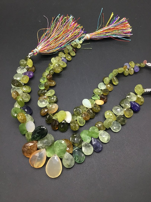 Mixed Gems 8 '' Faceted Pear Natural Gemstone 180 Ct Approx gemstone necklace
