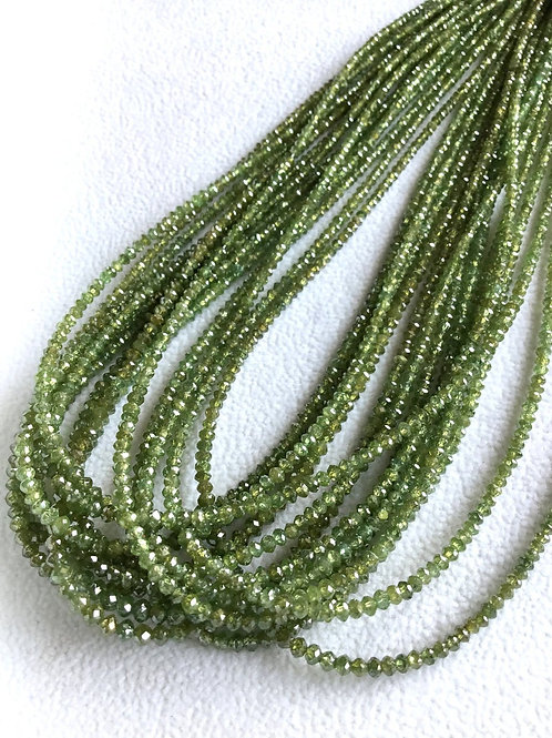 Green Diamond Beads 16 Inches 2 To 3 mm Approx Top Color Beads 1 Strand