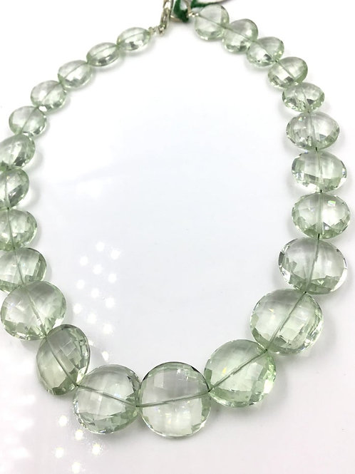Green Amethyst Faceted oval Beads Fancy 107.50 Cts, Size = 10 TO 14 MM 24 Pieces