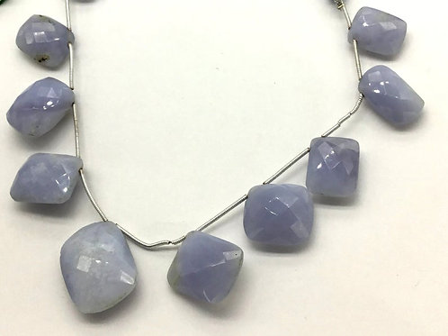Chalcedony 8 '' Faceted Chiclets 1 Strand natural Gemstone Bead Necklace