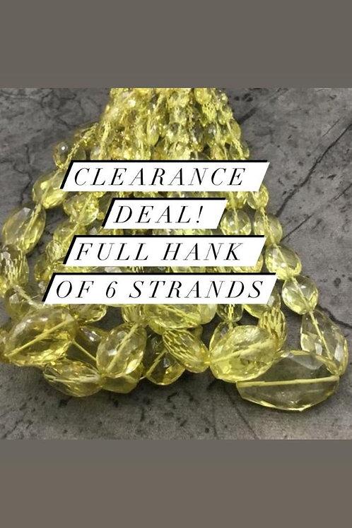 Closeout Sale price Lemon Quartz Faceted Tumble 6 strands full hank wholesale