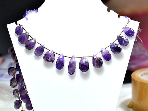 Dog Teeth Amethyst - 8'' Africa Faceted Drops 1 Strand Gemstone Jewelry Beads