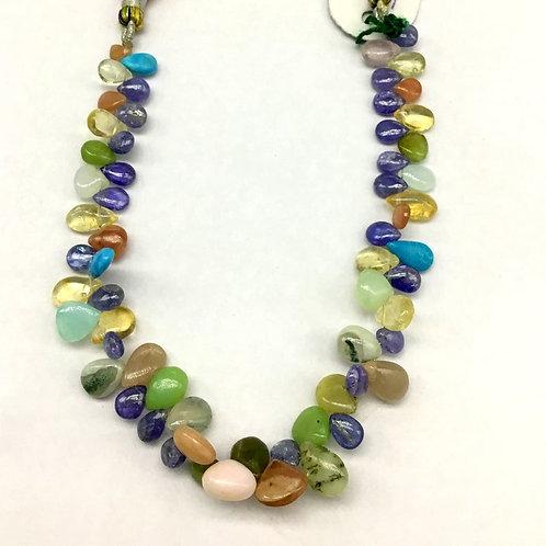 Mixed Gems Pear gemstone Smooth Multi Gemstone Natural Gems necklace Tanzannite