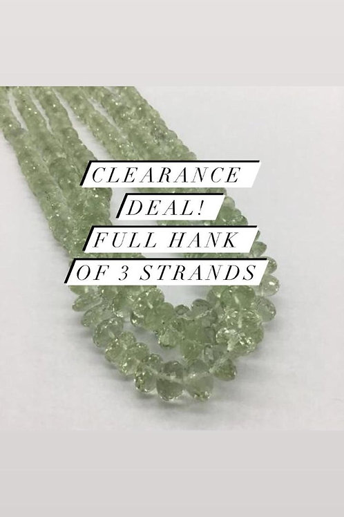 Closeout Sale price Green AmethystFaceted Beads 3 strands full hank wholesale