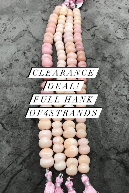 Closeout Sale Pink Opal Plain Fancy 4 strands full hank wholesale closeout deal
