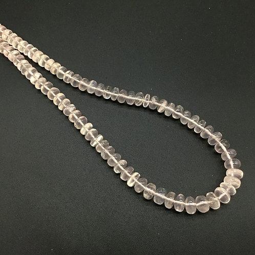 Rose Quartz 16 '' Smooth Beads Natural Gemstone Necklace Handmade Quality 125 Ct