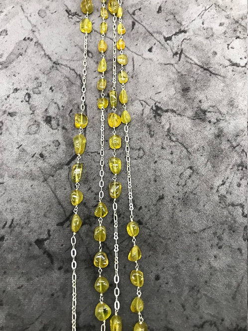 "SILVER JEWELERY CHAIN Necklace 44""Yellow Sapphire Plain Tumble Fancy shape"