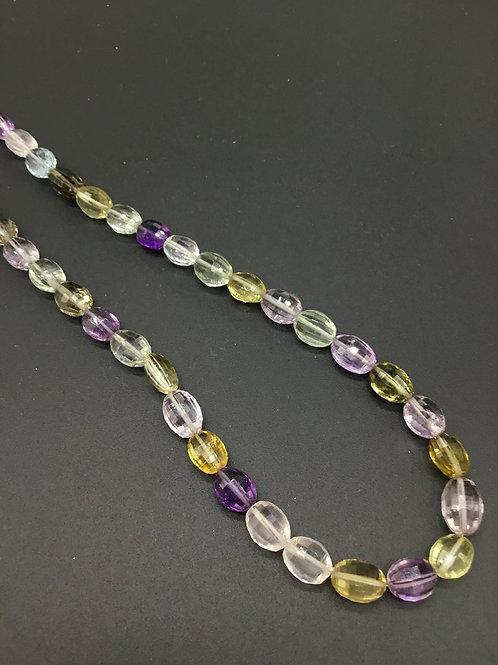 Semi Multi Precious 16 '' Checker Cut 122.25 Ct Natural Gemstone Necklace