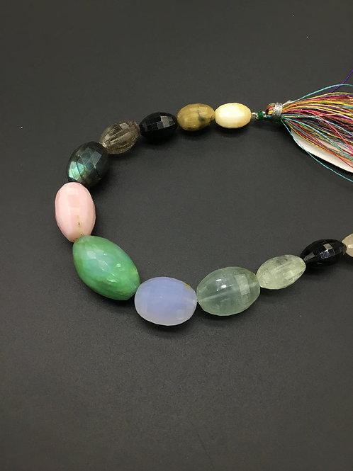 Multiple Semi Precious Gemstones 8 '' Faceted Tumble Natural Gemstone Necklace