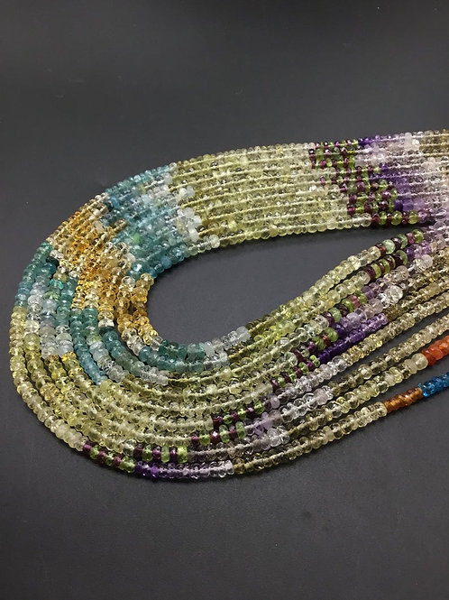 Multiple Mixed Gems Faceted beads Natural Gemstone 16""