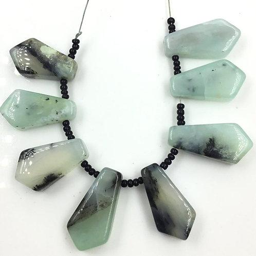 Peru Blue Opal Smooth Fancy Beads Natural Gemstone Opal Beads
