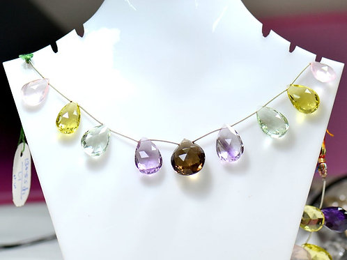 Multiple Mixed Gems Beautiful !! Necklace !! 8'' Brazil Faceted Almond 1 Strand