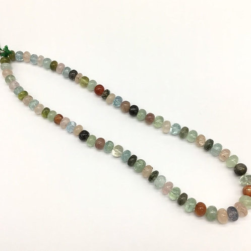 Mixed Gems Smooth Plain Beads Multiple Gems Jewellery 16inch strand 201.15carats