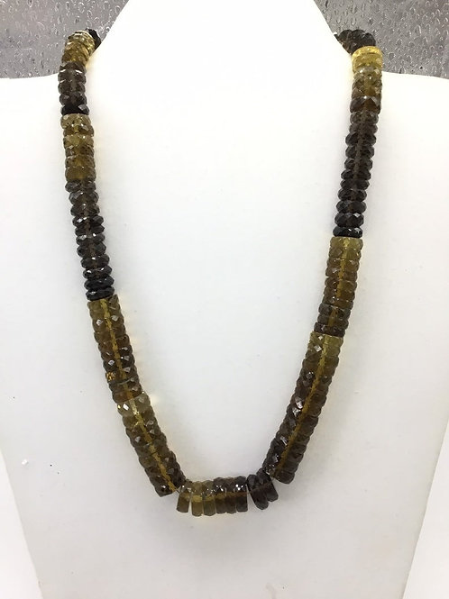 Beer Quartz Shaded Faceted Tyre/ Heishi 1strand 371carats size-8to11MM