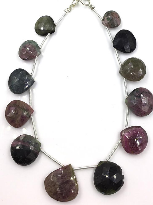 Tourmaline Pear Beads Faceted Multi Tourmaline Colours 96.20 carats