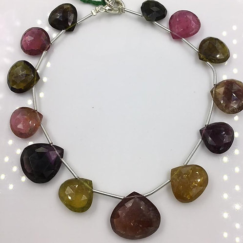 Tourmaline Pear Beads Faceted Multi Tourmaline Colours 88 carats