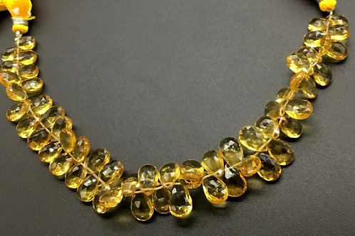 Citrine 8 '' Faceted Pear / Almond Natural Gemstone 1 Strand Bead Necklace