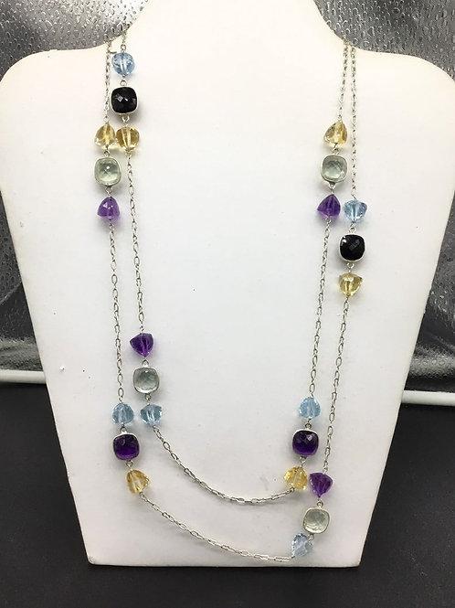 Amethyst Citrine Topaz black spinal Trillion Fancy Gemstone silver Chain