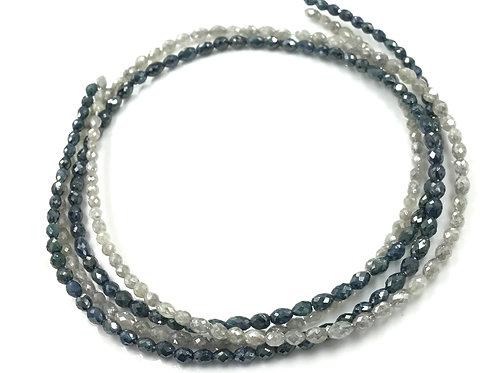 Blue & White Diamond 2.5x3 To 3x4 mm Beads