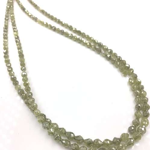 Fancy Yellow / Green Diamond Long Drilled Beads 14 Inches 3x3.5 To 4x4.5 mm