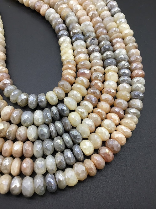 Multi Moonstone with shiny coating Faceted Beads 1strand 252carats size-8to10MM