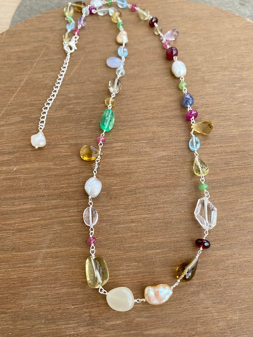 Silver Jewellery 925 Sterling Silver 28.5'' Semi Multi Gemstone Silver Chain
