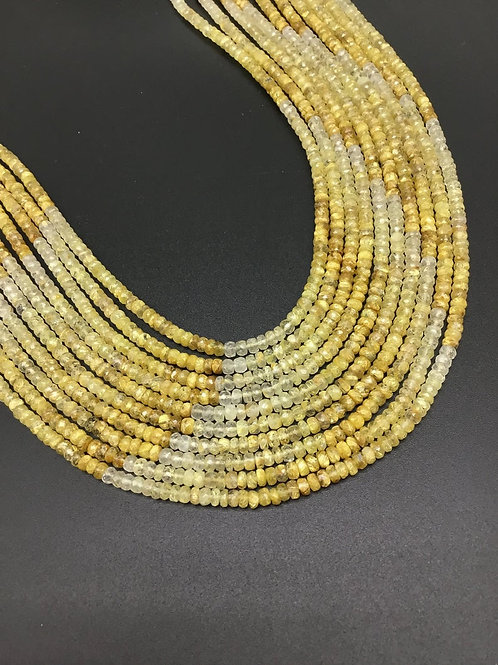 GOLDEN RUTILE 16 '' Faceted Beads Shaded 1 strand 4MM Natural Gemstone Necklace