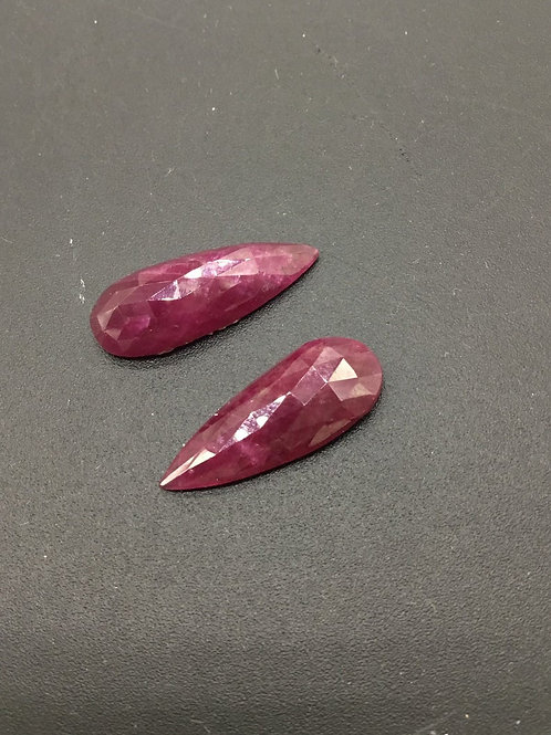 Ruby cut Faceted Rose Pear shape Almost Pairs 2pieces 14.90carats size-9x12MM