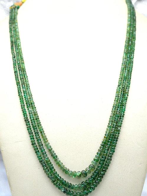 Emerald Beads zambia Smooth 139.45 ct 3 line Gemstone