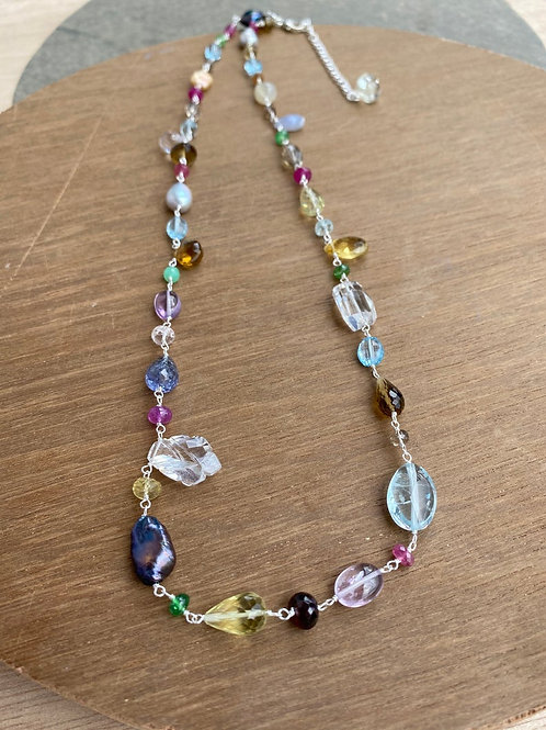 Silver Jewellery 925 Sterling Silver 28'' Semi Multi Gemstone Silver Chain
