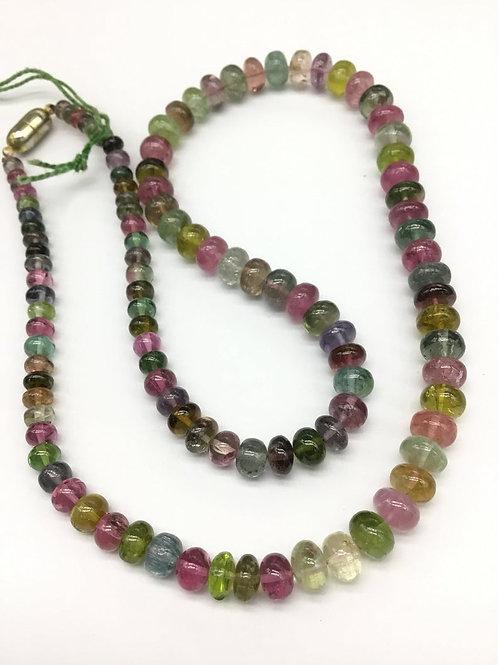 Multi Tourmaline 18 '' Smooth Beads AAA + Quality 1 Strand