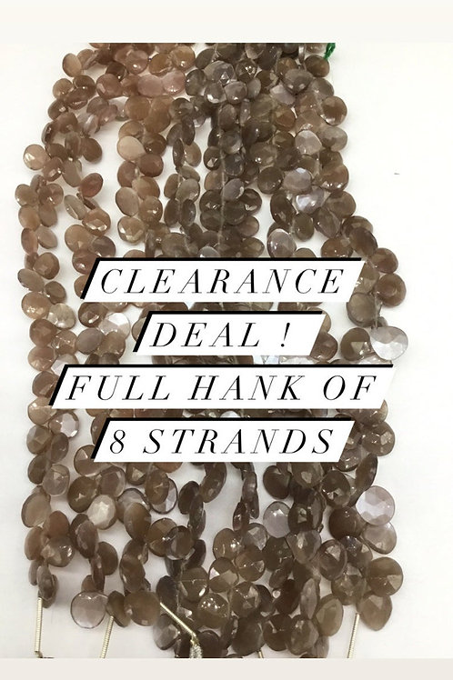 Closeout Sale price chocolate Moonstone Faceted Heart 8 Beadsstrands full hank