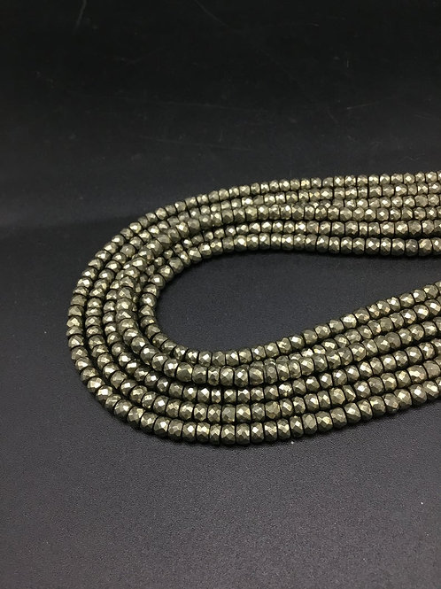 Pyarite Golden Pyarite Faceted Beads Natural Gemstone Necklace 1 Strand Faceted
