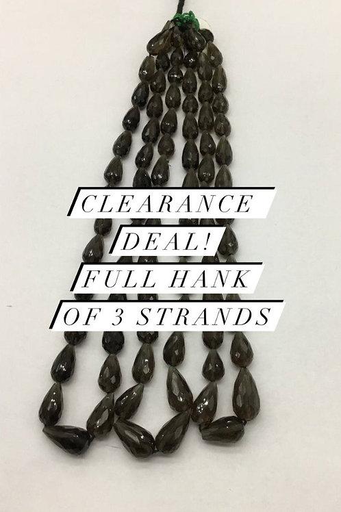 Closeout Sale price Smoky Quartz Faceted drops 3 strands full hank wholesale