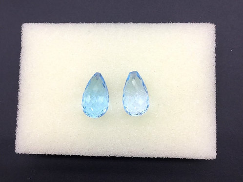 Sky Blue Topaz Faceted Drops 2 Pieces ( 1 Pair Set ) 100 % Natural Top AAA +