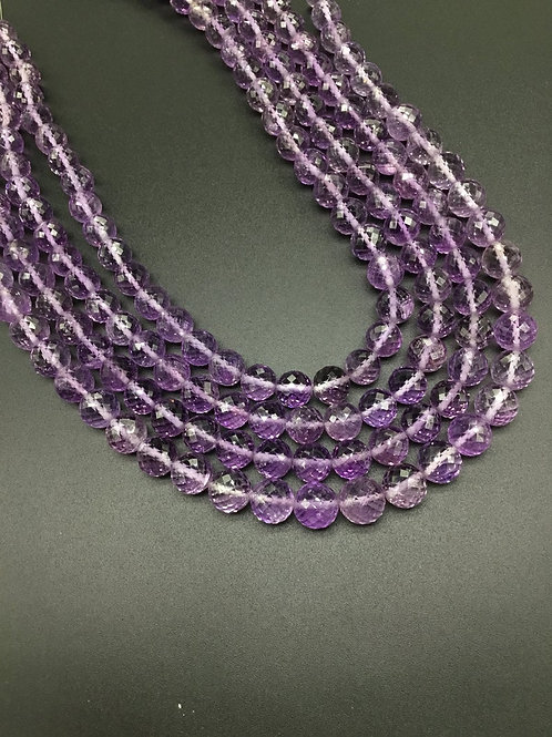 Amethyst Pink/Purple 16 '' Faceted balls TOP COLOR Natural Gemstone Necklace