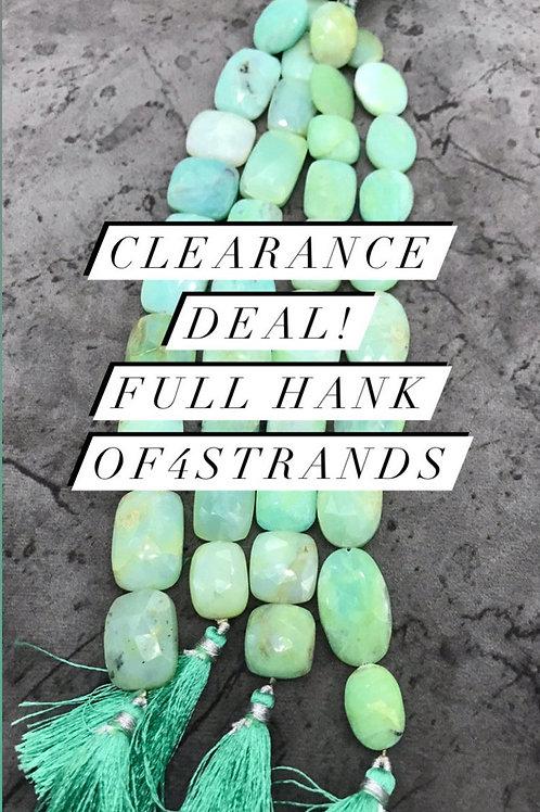 Closeout Sale Blue Opal Faceted Bagutte 4 strands full hank wholesale closeout