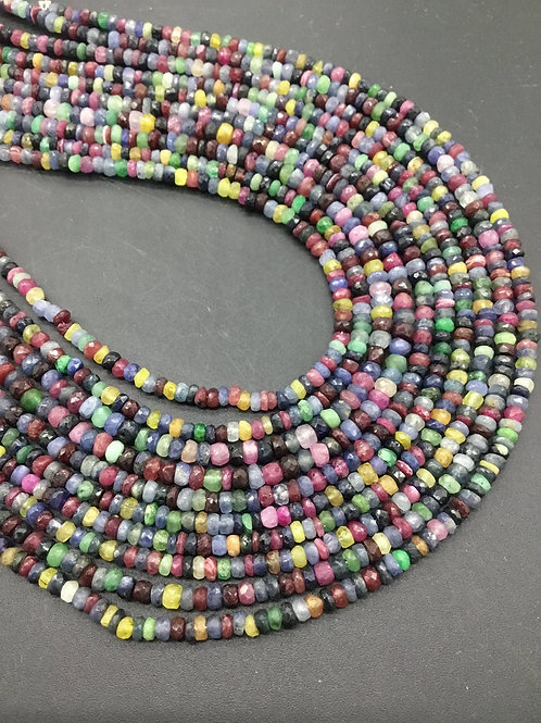 Multi Gemstone Disco Beads RUBY EMERALD SAPPHIRE - 16'' Brazil Faceted Beads