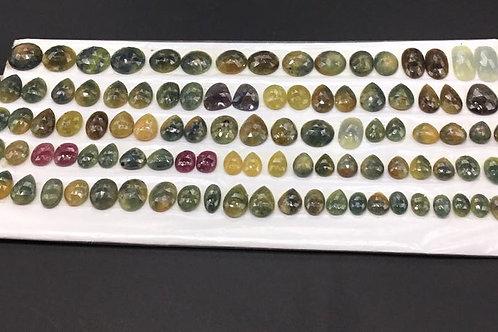 Multi Sapphire Faceted Rosecut Mix Fancy Shape Natural Gemstone 1 Pair Set J
