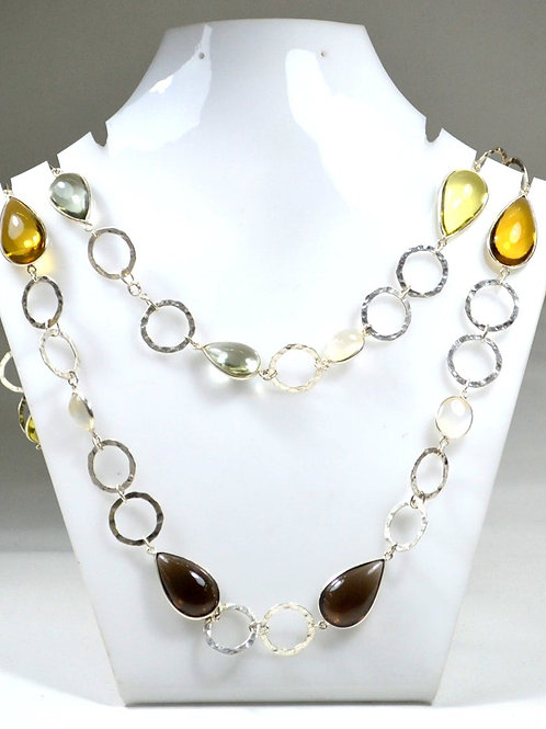 925 Silver Chain/Necklace 30 '' Semi Precious Multi Plain Mix