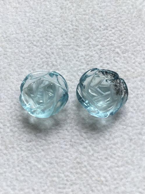 Aquamarine Carved Flower Natural Gemstone For Jewelery Making Aqua Carve
