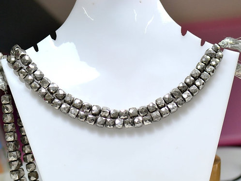 Silver Pyrite Beautiful Necklace - 8'' Indian Faceted Box 1 Strand Gemstone