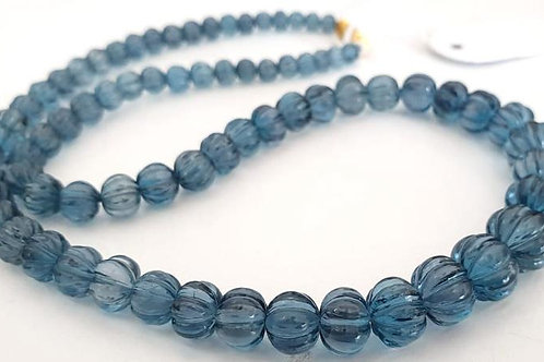 London Blue Topaz Fancy Mellon Beads Natural Gemstone Jewellery 1strand