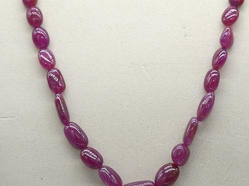 Ruby (lead Filled) 18 '' Plain Tumble 190.20 ct 1 Strand Gemstone