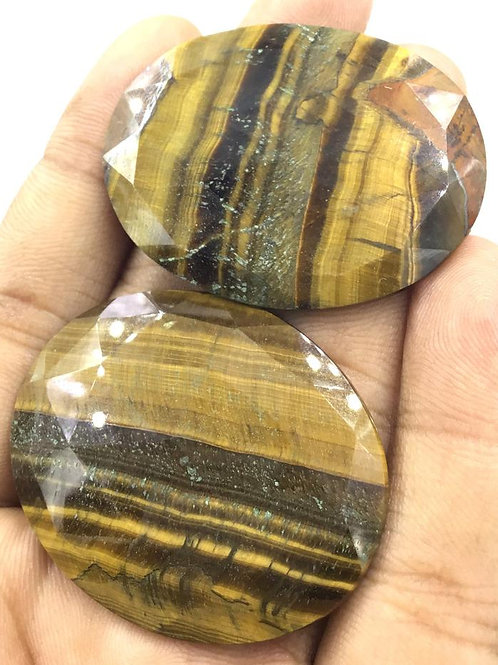 Tiger Eye Natural Gemstone Faceted Oval Shape Tumble Size 40 To 49mm , 173.05 Ct